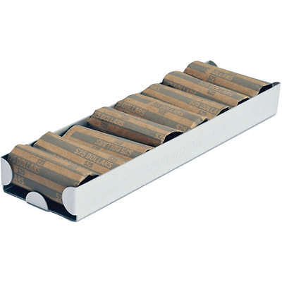 Gray Aluminum Small Dollar Coin Roll Storage Tray, Heavy-duty