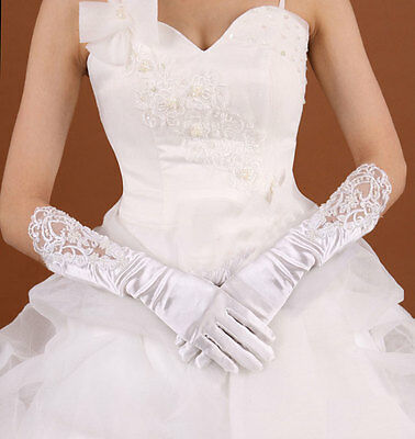 Classic Wedding 12 inch long bridal Ivory Prom Lace top Elbow length Gloves