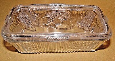 Vintage Refrig.dish -Vegetable  Pattern Ribbed Clear Glass-Horizontal Design