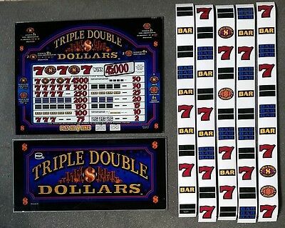 IGT S2000 TRIPLE DOUBLE DOLLARS Glass Kit with Top Belly BACKLIT Reel Strips