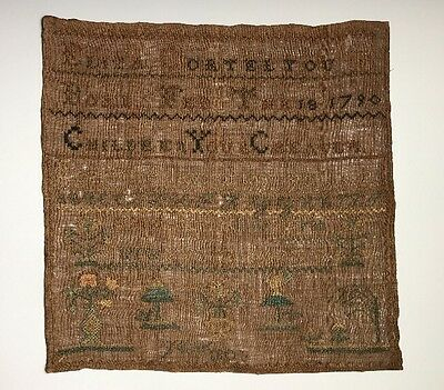 An Antique American Needlework Textile Sampler Dated 1790-1806