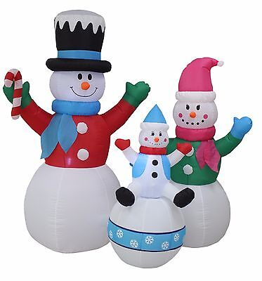 6 Foot Tall Christmas Lighted Inflatable Snowman Family Yard Outdoor Decoration