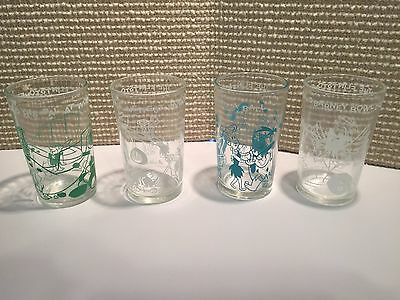 The Flintstones 4 Vintage Jelly Glasses HANNA BARBERA Cartoon Juice Drink 1960's