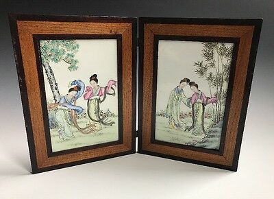 An Antique Chinese Porcelain Painted Table Plaque Screen