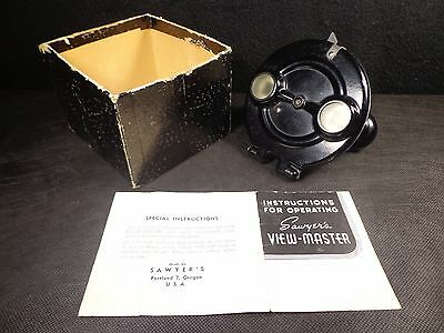 Vintage 1930's VIEW MASTER ROUND BAKELITE VIEWER IN BOX W Manual OUTSTANDING !!