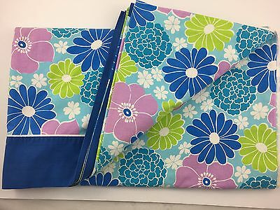 Vintage WABASSO Queen Size Flat Top Sheet Pink, Green, Blue Heading Flowers
