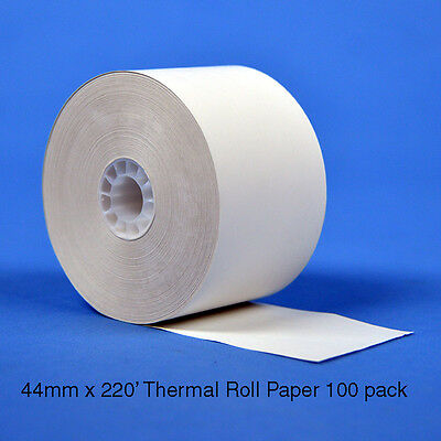 "44mm (1 3/4"") x 220' Thermal Roll Paper for Sharp Cash Register, 100 Rolls/Case"