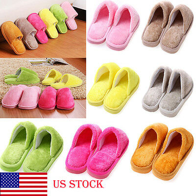 US STOCK Men Women Home Anti-slip Shoes Soft Warm Cotton House Indoor Slippers