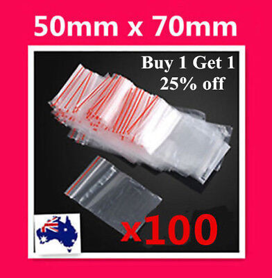 100 X Small 50x70mm 5x7cm Ziplock Zip Lock Resealable Plastic Bag Jewellery Coin