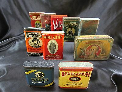 Vintage Pocket Cigarette Pipe Tobacco Advertising Tin Lot of 10; Raleigh, Albert