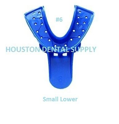 12 Dental Disposable Impression Trays Perforates Blue #6 SMALL LOWER Autoclavabl