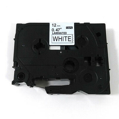 12mm Black on White Label Tape Compatible for Brother TZ 231 TZe 231 P-Touch 8m