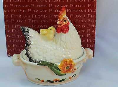 Fitz & Floyd Chanteclair Rooster Chick Covered Condiment Jar 394327