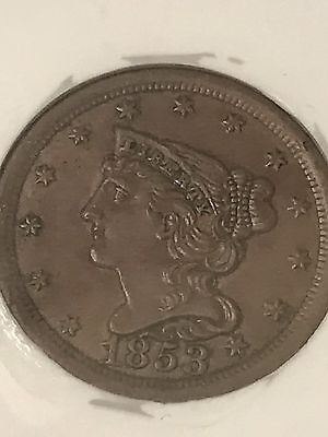 1853 half cent!! Grandfathers Collection!! NGC AU 58 !!! WAS $239!!! Save $115!!