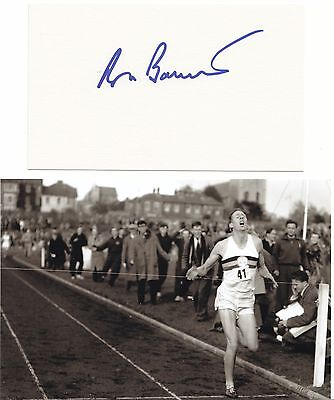 Roger Bannister 4 Minute Mile Athletics Legend Great Signed Card + Photo  Coa