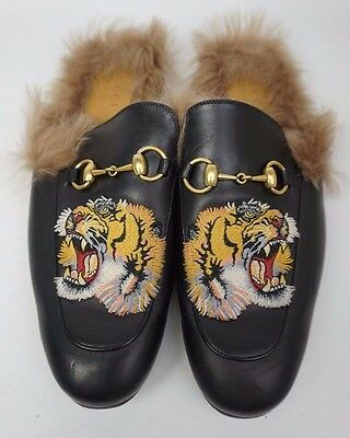 Gucci Black Princetown Fur Leather Tiger Embroidery Men's Slippers Size 9
