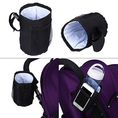 Baby Toddlers Stroller Console Tray Pram Hanging Black Bottle Cup Holder Bag SS