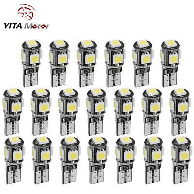 20x Pure White Canbus Error Free T10 SMD LED Interior License Light Bulb W5W 194