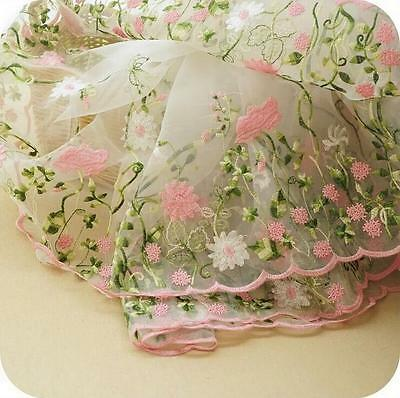 "1 Yard Lace Fabric Organza Tulle Pink Floral Embroidered Evening Dress 51"" Wide"