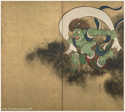 Japanese antique screen painting Big size Heavy color Mythical Figure Wind God