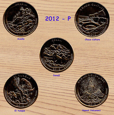 2012 P  24K Gold Plated America The Beautiful Parks Quarter Set 5-Coins