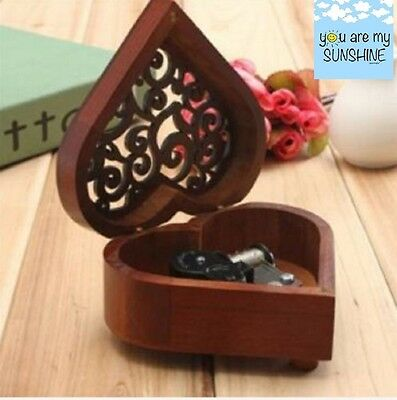 Heart Shape  ♫ You Are My Sunshine ♫  Wooden Wind Up  Music Box