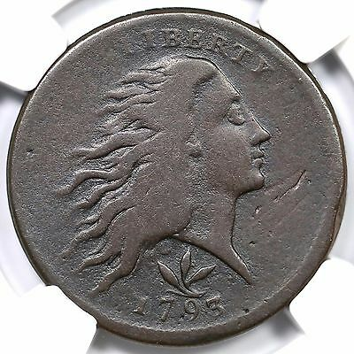 1793 S-9 R-2 NGC Fine Details Vine & Bars Wreath Large Cent Coin 1c