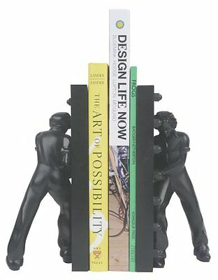 Kikkerland Rosie - Bookends (polyresin), colore nero (r5K)