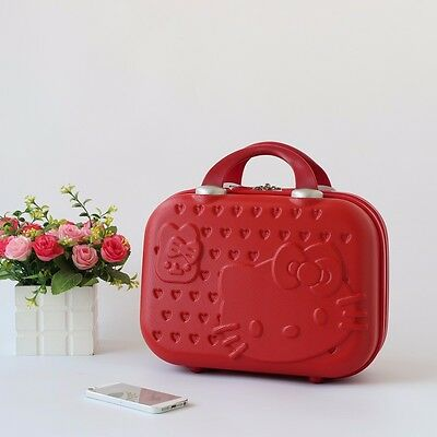 Hello Kitty Women Makeup Case Business Travel Make Up Bag Luggage Suitcase Red