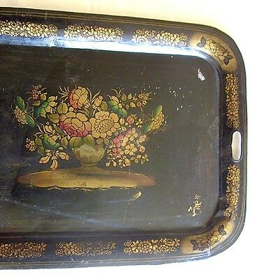 Black Tole Tray 1800s Antique Hand Painted Floral Design Estate Find