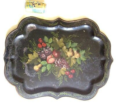 Antique Tole Tray 1800s Hand Painted Fruit Design New England Estate