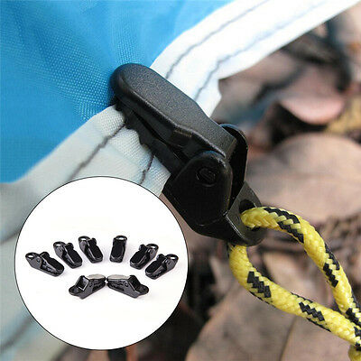 8pcs Mini Tents Awning Wind Rope Clamp Awnings Plastic Clip Tighten Tool Black