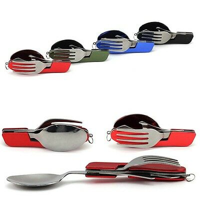 3 in 1 Pocket Folding Spoon Fork Cutlery Outdoor Camp Hiking Travel Multi Tools
