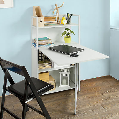 SoBuy®Folding Laptop Desk Table with 4 Tiers Bookcase Storage Shelves,FWT12-W,UK