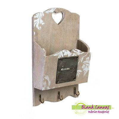 Shabby Chic Wall Tidy - Key Holder - Letter Rack - Brand New
