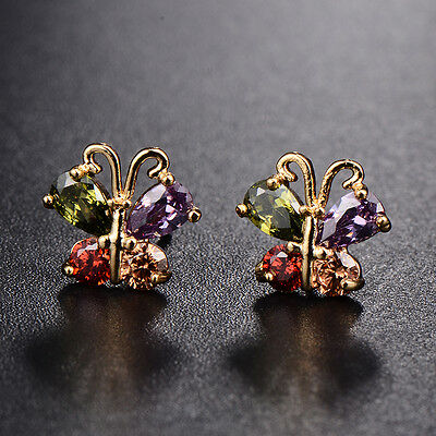 New Hot Womens Yellow Gold Plated Butterfly Colorful Crystal Stud Earrings