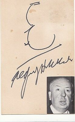 Alfred Hitchcock Legendary Film Director Great Signed Card + Photo  Coa