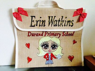Personalised Jute School Book Bag Any Name And School Hand Painted