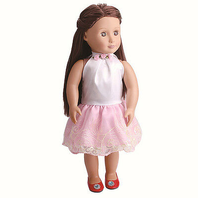 1 x Pink Lace Doll Dress For 18 Inch Doll Toy Fashion Handmade Party Clothes