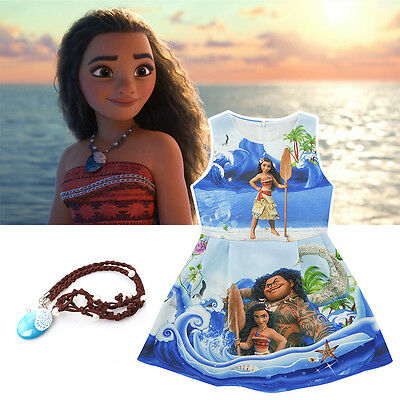 Disney Girls Kids Moana Cosplay Costume Sleeveless Hawaiian Princess Fancy Dress