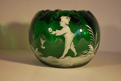 Victorian Mary Gregory Squat Glass Vase           #9010