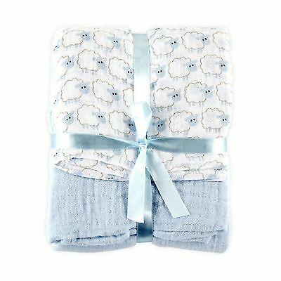 Hudson Baby 2 Count Muslin Swaddle Blanket Blue Free Shipping