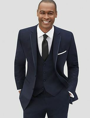 Custom Made Navy Blue Men Suits Groom Tuxedos Slim Fit Best Man Suits 3 Piece