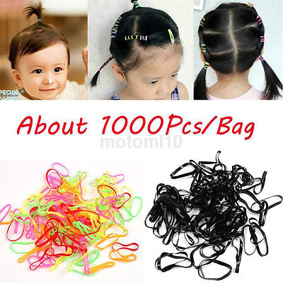 1000X Durable Mix Color Baby Girl TPU Rubber Hair Bands Elastics Tie Gum Holders