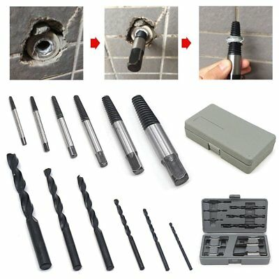 12 x SCREW EXTRACTOR+ CASE Removes Damaged Broken Snapped Stud Bolt Remover Out