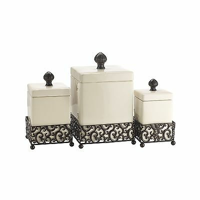 Home Essentials 69461 Pressed Metal Danbury Square Canister Set... Free Shipping