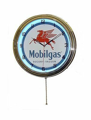 "MOBIL GAS MOBILGAS OIL 15"" NEON WALL CLOCK ADVERTISING GARAGE S... Free Shipping"