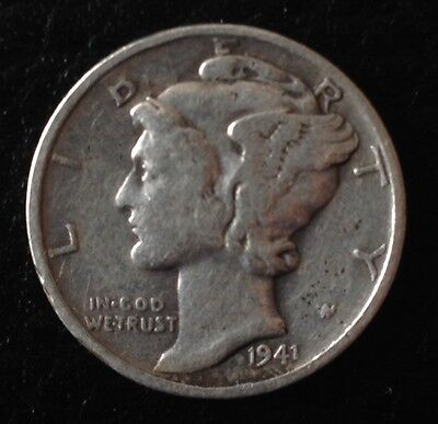 1941 D US USA America Dime American Silver Coin