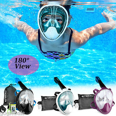 180°View Full Face Snorkel Mask Swimming Diving Goggles Scuba for GoPro S/M/L/XL