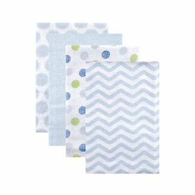 Luvable Friends Flannel Receiving Blankets Blue Dots 4 Count Free Shipping